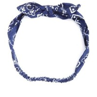 Bandanna Print Knotty Bow Head Wrap by Charlotte Russe - Blue Combo