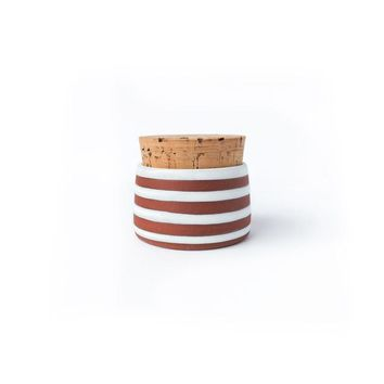 Corked Jar - White Horizontal Stripes