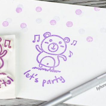dancing bear stamp, party bear rubber stamp, teddy bear stamp, bear rubber stamp, music party stamp, let's party, birthday party gift tag