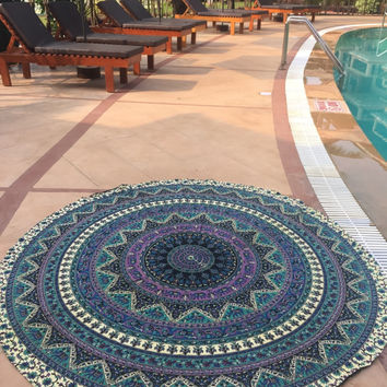 ELEPHANT MANDALA BEACH MANDALA ROUND ROUNDIE THROW, YOGA MAT!!