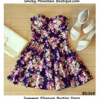 Summer Pleasure Floral Bustier Dress with Adjustable Straps - Size XS/S/M BD 369 - Smoky Mountain Boutique