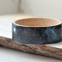 Handpainted bracelet, galaxy, blue, black, dark blue bracelet, white, wooden, space, one of kind, contemporary art, boho