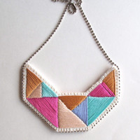 Embroidered necklace geometric small bib triangles in beautiful colors of mint green pink violet lavender and tan bold design