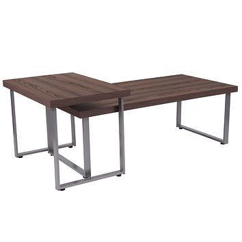 Roslindale Wood Grain Finish Coffee Table with Metal Legs