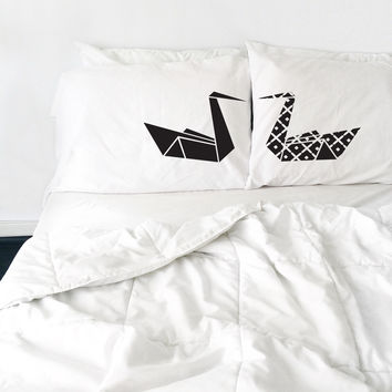 Kissing Origami Swans Couple Pillow Case
