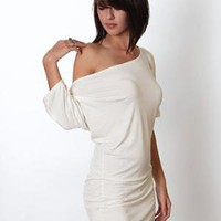 Lamixx Off Shoulder Dress in Ivory - $34.00 : ThreadSence.com, Your Spot For Indie Clothing & Indie Urban Culture