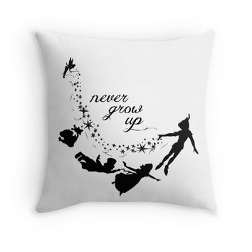 'Neverland Never Grow Up ' Throw Pillow by MarkUp