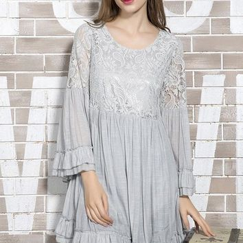 Lace Accent Tunic Dress - Grey