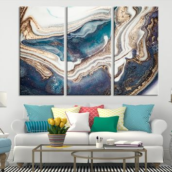 93414 - Abstract Marble Turquoise Wall Art Canvas Print