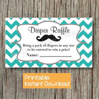 Diaper Raffle Tickets Little Man Baby Shower Mustache Raffle Tickets Aqua Grey Chevron INSTANT DOWNLOAD pdf Printable Party DIY Digital 014