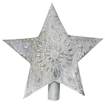 "Whitewashed Star 9"" H Tree Topper"