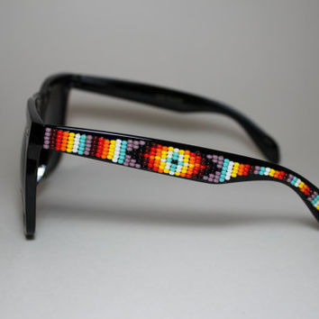 Tribal Design Beaded Sunglasses XL size by brownbeadednet on Etsy