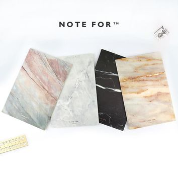 4pcs/lot Japanese Cute  NOTE FOR SILENCE Marble Designs Soft Cover A5 Notebook Lines Composition Diary Stiching Binding
