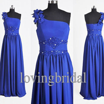 Handmade Cheap One shoulder Royal Blue Crystal Ruffle High Low Formal Long Prom/Evening/Party/Bridesmaid/Cocktail/Homecoming Dress Gown