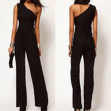 Women's One Shoulder Jumpsuit Sexy Black Bell-bottoms Loose Overall Pants