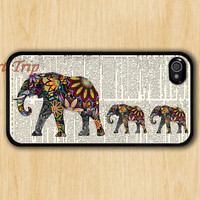 iPhone 4 Case, iphone 4s case --Mama Elephant and two Baby Elephants iphone case,colorful elephant on Dictionary iphone 4 case, iphone case