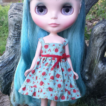 Romantic rose print dress in beautiful pale sea blue for Blythe
