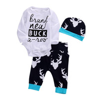 Halloween Newborn Toddler Baby Boys Girls Deer Romper Bodysuit Long Sleeves Tops +Long Pants Hat Outfits Set Clothes 0-18M