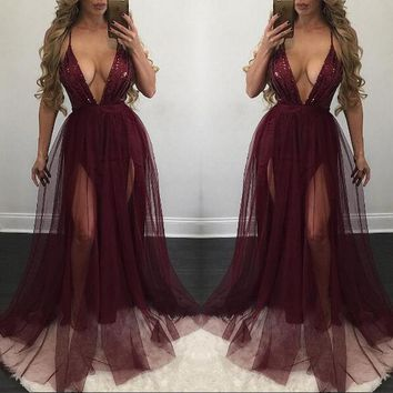 Fashion Sequin Stitching Chiffon Maxi Dress Deep V-Neck Backless Hollow Strap Sleeveless Evening Dress