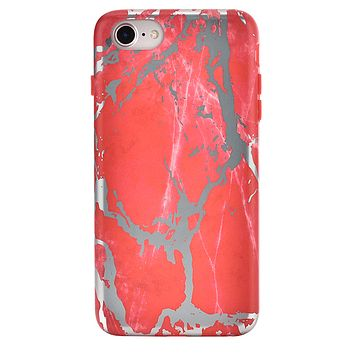 Red Marble Silver Chrome iPhone Case