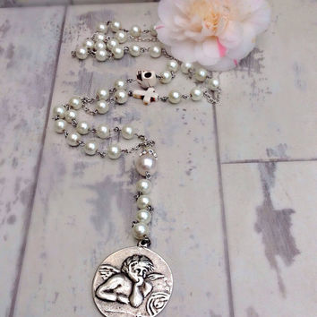 Rosary necklace, skull rosary with coin, cherub pendant, pearl, day of the dead, boho wedding,