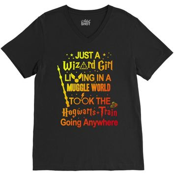 Just A Wizard Girl Living In A Muggle World V-Neck Tee