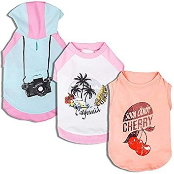 Blueberry Pet Shirts for Dogs with Vary Package, Pack of 1 or Pack of 3 Dog T-Shirt with Camera Cherry and Chill Summer California Pattern