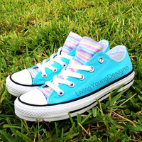 Custom Converse Low Top Sneakers Rainbow Stipe Blue Chuck Taylors