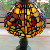 Stained Glass Lamp Tiffany Style Vintage 1980s
