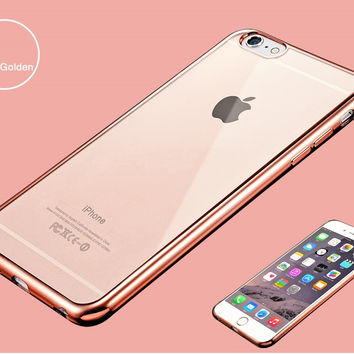 Luxury Ultra Thin Clear Crystal Rubber Plating Electroplating TPU Soft Rose Gold Mobile Phone Back Cover Case For iPhone 6 6s 6 Plus 6s Plus