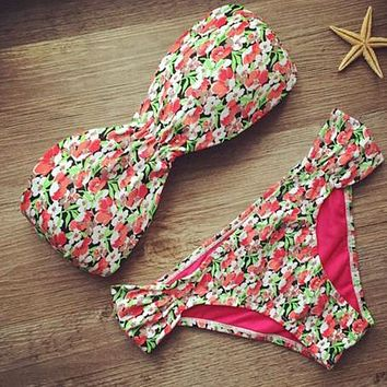 Strapless Floral Beach Bikini Set Swimsuit Swimwear
