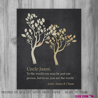 UNCLE Gift Personalized Print CUSTOM Art To Us You Are The World Family Tree masculine Niece Nephew Also for Sister, Mom, Aunt, Cousin
