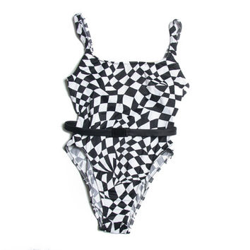 6fc0a31d7f043 Optical Illusion 90s Swimsuit - OnePiece Swimsuit - 90s One Piec. Swimwear  ...