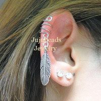 NO PIERCING REQUIRED Silver Feather Ear Cuff