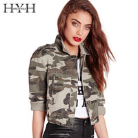 HYH HAOYIHUI Camouflae Print Women Jacket Turn-down Collar Single Breasted Pocket Outwear Long Sleeve Punk Vintage Bomber Jacket