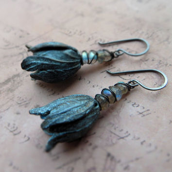 Blue patina tulip earrings / blue green labradorite, oxidized brass, black copper wire / verdigris flower