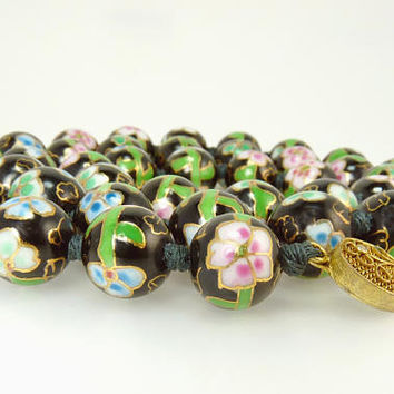 Vintage Black Cloisonne Bead Necklace Chinese Export