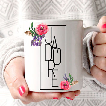 "Cute Floral ""J'adore"" Coffee Mug - Tea cup - wedding gift - Bridal Shower - coffee cup - cute brides gift - birthday present"