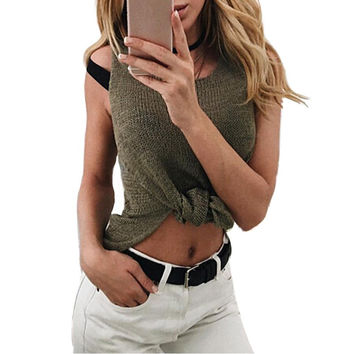 Summer New Women Knitted Tops Sexy Tops O Neck Sleeveless Side Split Irregular Vest T-Shirt Female Casual Loose Tee Blusas