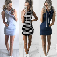 Grey Hoody Dress Sexy Women sleeveless Hooded Mini Dress