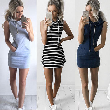 Grey Hoody Dress Women sleeveless Hooded Mini Dress