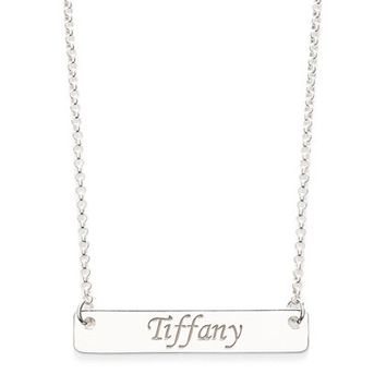 Women's Argento Vivo Personalized Script Bar Pendant Necklace