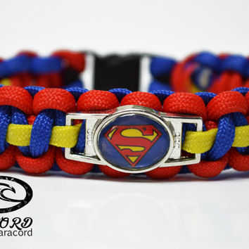 Superman Bracelet, Superman Paracord Bracelet, Man of Steel Bracelet, Superman Jewelry, Custom Superman Bracelet