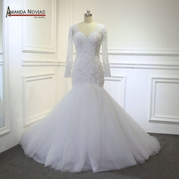 2017 Mermaid Wedding Dress Sexy Backless Full Pearls Beading Wedding Gown