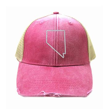 Nevada Hat - Distressed Snapback Trucker Hat - Nevada State Outline - Many Colors Available