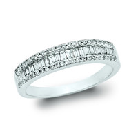 0.50 Carat Diamond Baguette Stackable Ring Set in 14K White Gold