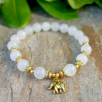 Serenity, Beautiful White Jade and Gold Elephant Charm Womens Bracelet, Spiritual Protective Yoga Mala Jewelry, Prayer beads, FREE SHIPPING