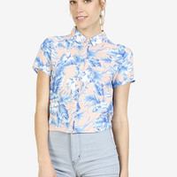 Tropical Trip Boxy Blouse - Peach