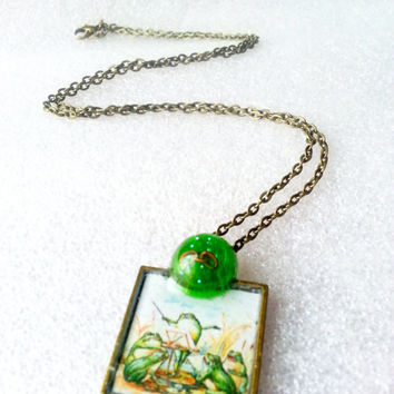 Frog Necklace, Vintage Frog Art Necklace, OOAK Frog Jewelry, Musical Jewelry, Frog Quartet Necklace, Unchained Melody Pendant, Singing Frog