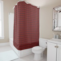 Traditional red chequered pattern, worker clothing shower curtain